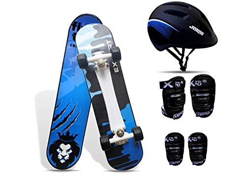 jaspo Experts Intact Combo Anti Skid Skateboard with Helmet, Knee and Elbow Guard (Blue, 26'x 6.25' )