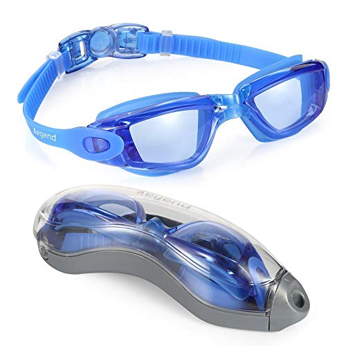 Aegend Anti-Fog UV Protection Triathlon Clear Swimming Goggles with Case (Blue)