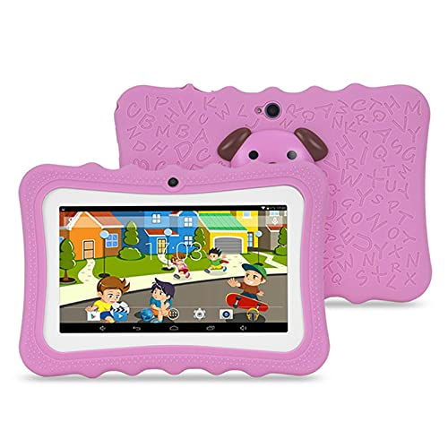 Tablet for Kids, 7 Inch Toddler Edition Tablets, 512MB+8GB, Android 4.4, WiFi, Dual Camera, Parental Control for 2-10 Children with Kid-Proof Case Suitable for Online Classes (Pink)