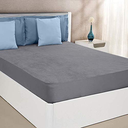 Amazon Brand - Solimo Water Resistant Cotton Mattress Protector 78'x72' - King Size, Grey