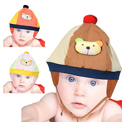 Guru Kripa Baby Products Soft Pure Cotton Caps with Tai Knot and Bonnet Infant Unisex Hat/Topi (0-4 Months, Multi)