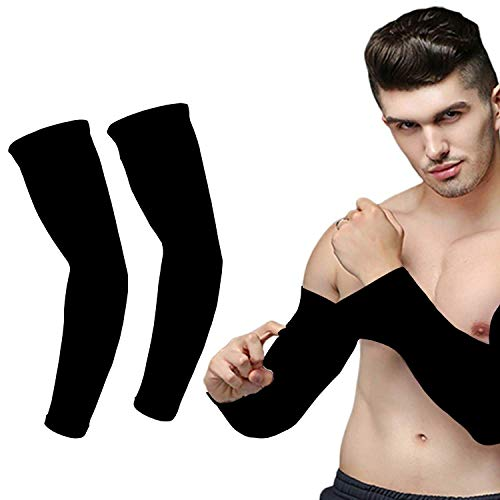 ANEMOI 2 Pair Cotton Sports Activities Arm Sleeves With Uv Sun Protection (Black- Pack of 2)