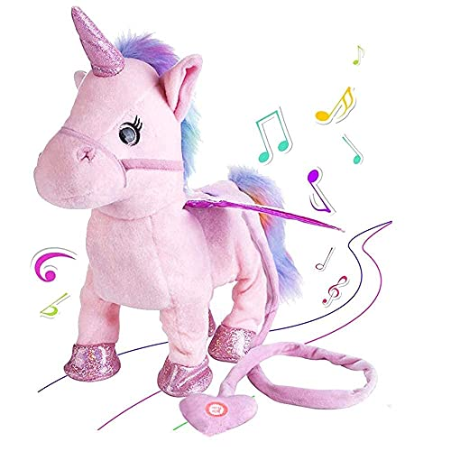 Decor Express Musical Unicorn Soft Toy with Lights and Sound, Walking Interactive Plush Toy for Girls(Multicolor)