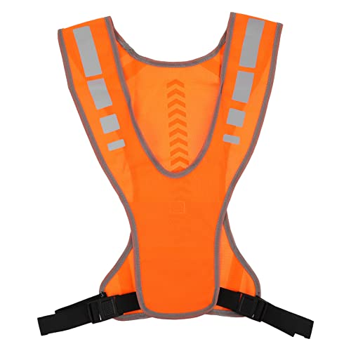 BESPORTBLE LED Reflective Running Vest Adjustable Elastic Safety Gear Accessories for Night Running Cycling Biking Runners Bicycle Jogging Dog Walking Orange