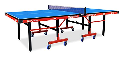 Amazon Brand - Koxtons TT Table Competition , Foldable Table Tennis Table for Home with Wheels, 25mm TT Table Board & TT Table Net