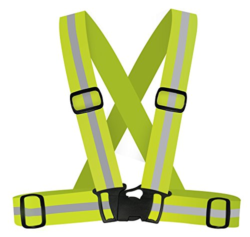 Safety High Reflective Neon Yellow Harness - Sport Vest Type for Runner, Cycling, Walking & Any Other Night Sport Activities.