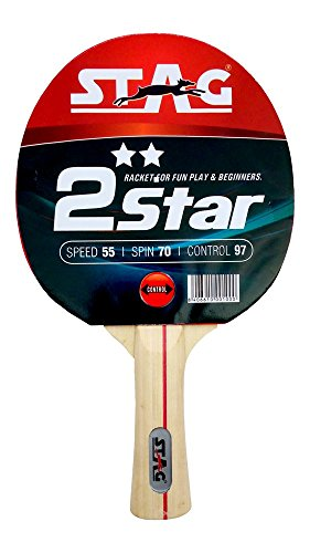 Stag 2 Star Table Tennis Racquet | 148 grams | Beginner | ITTF Approved Rubber | Multi- Color