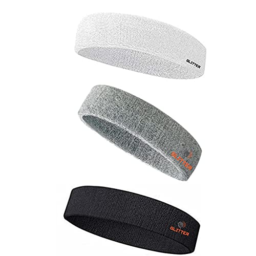 Glitter Non Slip Moisture Wicking Work Out Cotton Head Band for Men's & Women's Sweatband for Workout/ Sports Fitness/Exercise/Training/Running/Yoga- Pack of 3 (White,Grey,Black)