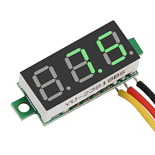 Voltage Panel, Easy To Connect Compact Voltage Meter 0.28Inch for Motorcycles To Monitor Battery Voltage for Electric Bikes for Kids' Cars green