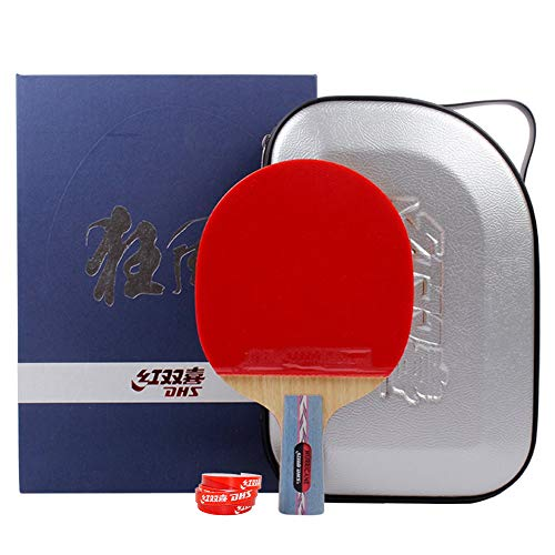 DHS Table Tennis Racket Ping Pong Paddle Hurricane No.1 (Short-handle) Double Pimples-in Bats Pen-hold Grip