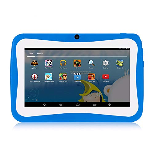 Decdeal 7 inch Kids Tablet Educational Learning Computer 1024 * 600 Resolution WiFi Connection with Silicone Case Blue EU Plug