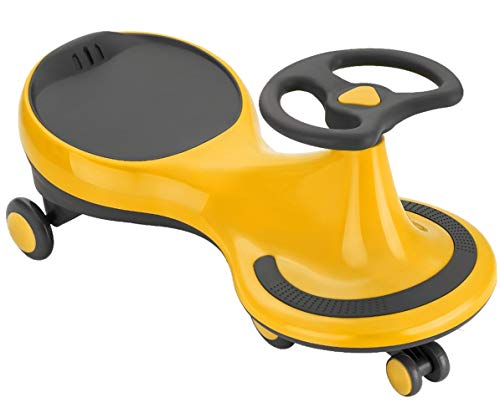 BAABUS Magic Car Rider Scratch Free Twister Magic Swing Car Ride on for Kids of Above 1 Years Strongest & Smoothest PU Wheels 100 KG Weight Capacity & ABEC 7 Bearing (Yellow)