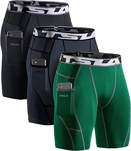TSLA Men's Athletic Compression Shorts, Sports Performance Active Cool Dry Running Tights, Pocket 3pack(mus74) - Black/Charcoal/Green, XX-Large