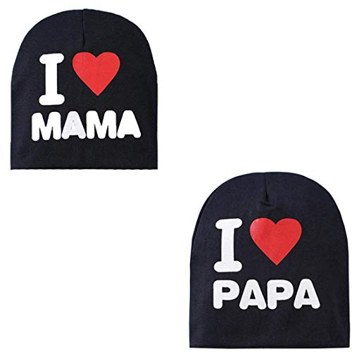 El Regalo 2 PCs I Love Mama Papa Caps   Knitted Cotton Beanies Hats for Kids/Children   Soft Caps for Girls & Boys (1 Year- 4 Years) (Black)