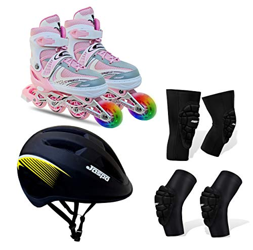 JASPO Sparkle Intact Adjustable Inline Skates Combo with Front Light up Wheels Beginners Skates Fun Illuminating Roller Skates for All Boys and Girls (Pink, Small (11-2 UK))
