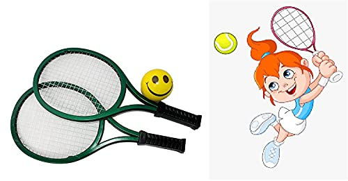 Prime Kids Tennis Rackets with Soft Training Balls Indoor Outdoor Sport Game Toys Gift Set for Children (2 Racket with 1 Soft Ball) Pack of 1