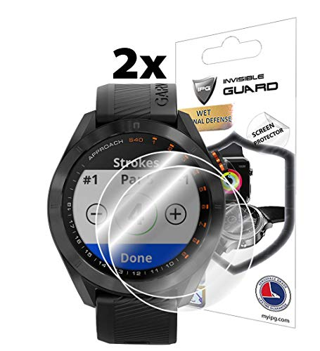 IPG for Garmin Approach S40 GPS Golf Smartwatch Screen Protector (2 Units) Invisible Ultra HD Clear Film Anti Scratch Skin Guard - Smooth/Self-Healing/Bubble -Free by