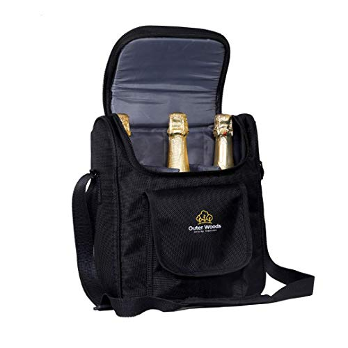Outer Woods Insulated 3 Bottle Wine Cooler Bag | 360 Degree Padded Protection for Wine Bottles | Adjustable Slots with Snacks Pockets | Ideal for Travel, Picnic, Party, Day Outing, Camping, Gifting - Black Color