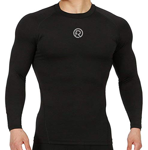 Recharge ReDesign Apparels Men's Polyester Compression Full Sleeves T-shirt (Black, Large)