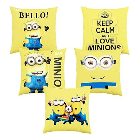 GOLDZEN Minion Cushion Soft Toys Stuffed Plush Pack of 5 for Sofa Bed Home Office Car Decoration Birthday Gift -13 X 14 Inches(Set of 5)