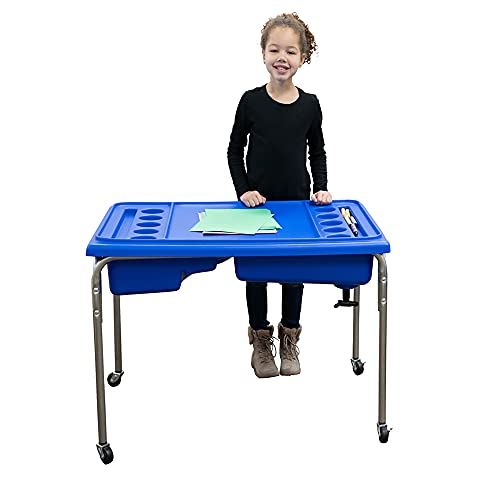 Children's Factory 1138-24 -1138 24' Lg. Plastic, Galvanized Steel Neptune Double-Basin Sand and Water Table and Lid Set for Toddlers, Kids (Blue)