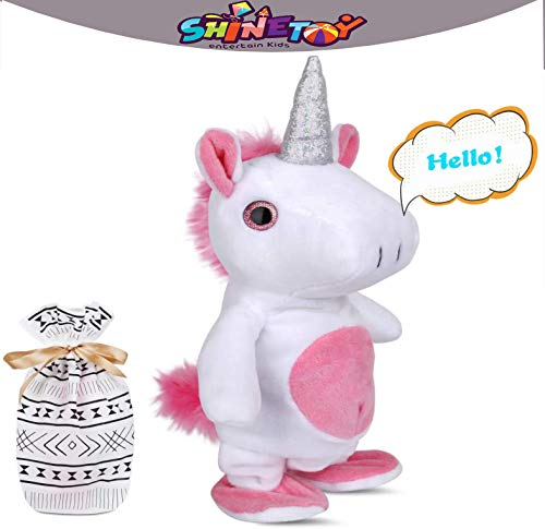 SHINETOY™ Interactive Cute Unicorn Plush Toy Talking and Walking for Boys and Girls Kids, Repeats What You Say Funny Kids Stuffed Animal Doll, Perfect Christmas and Birthday Present