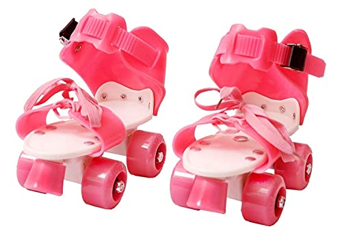 Fitakku™   Roller Skates for Girls   Adjustable for Various Sizes   with Braking System   Thermoplastic and Polyurethane Material   Pink (4-12 Years Age Group)