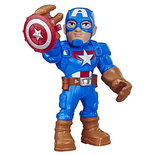 Playskool Heroes Mega Mighties Marvel Super Hero Adventures Captain America, Collectible 25-cm Action Figure, Toys for Children Aged 3 and Up