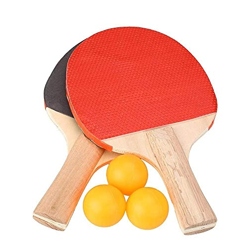 Twiclo Wooden Table Tennis Set 2 Racquets 3 Ping Pong Balls (Multi Color ,1pc)