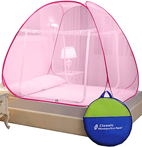 Classic Mosquito Net , King Size Bed , Foldable for Double Bed, Strong 30GSM, PVC Coated Steel (L200cm X W200cm X H145cm) -Full Pink