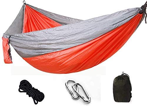 WXWS Ultra-Light Travel Camping Hammock   300kg Load Capacity Breathable,Quick-Drying Parachute Nylon   2 x Premium Carabiners,2 x Nylon Slings Included (275 x 140 cm, Gold)