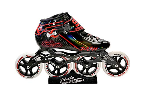 Simmons Rana Racing 4 x 100 Dash Inline Speed Skates Complete Package (Black-Green, 10)