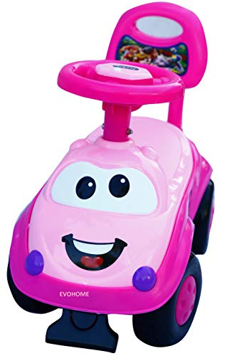 EVOHOME® Kids Baby Magic Ride on Push Car Ride with Backrest Musical Horn for Children Kids Toy Ride-on, Kids Toys, Toddler Baby Toy Baby Car Suitable for Kids Boys & Girls Age 1-3 Years Old (Pink)