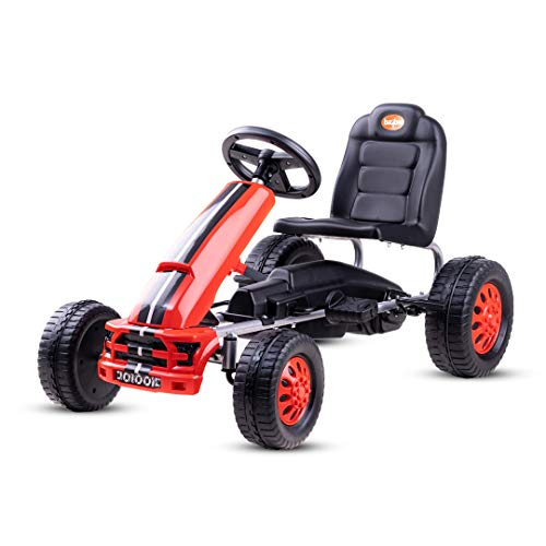 Baybee Kids Junior Cruiser Pedal go Kart Racing Ride on Toy car for Baby with Curved seat Baby Tricycle Kid's Trike/Bicycle Children Tricycle for Boys & Girls Age 2-5 Years ( Red )