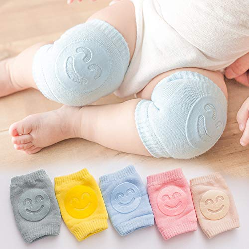 Nyarra Smiley (Set of 2 Pairs) Baby Knee Pads for Crawling, Elbow Safety Protector, Stretchable Anti-Slip Padded Elastic Soft Cotton Breathable Comfortable Knee Cap for Kids (Multi Color)