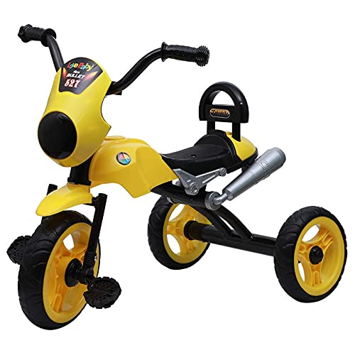 JoyRide Bullet Tricycle 2-5 Year Old Boys Girls Kids and Toddlers First Bike Birthday Gift (Yellow) Made in India