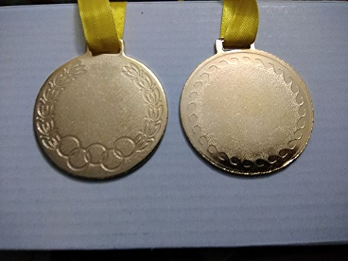 Pinka Heavy Gold Medal with Ribbons (5cm) - Pack of 6