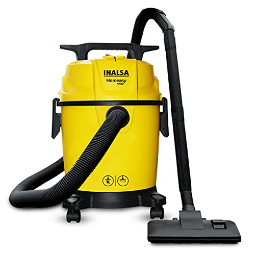 INALSA Vacuum Cleaner Homeasy WD10 with 3 functions Wet/Dry/Blow| 1200W Motor, 10L Tank Capacity & 1.8m Hose Pipe with Handle Grip (Yellow/Black)