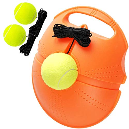 SOOHAO Tennis Trainer Rebound Baseboard Self Tennis Training Tool Set Solo Tennis Trainer Rebounder Practice Equipment with 3 Return Elastic Strings 3 Balls and Sturdy Base for Adults Kids