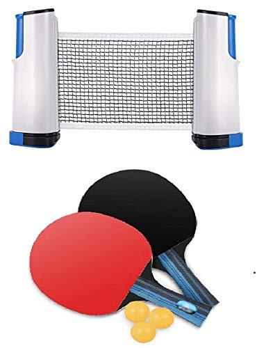Tima Table Tennis Set with Two Racket with Three Ball and One Retractable Table Tennis Net with Push Clamps - TT Net Set for 72 inch Table Tennis Board | Portable and Foldable Net Set, Multicolour