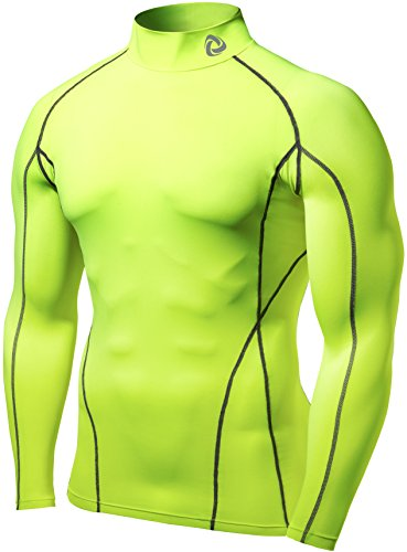 TSLA Men's Cool Dry Fit Long Sleeve Compression Shirts, Athletic Workout Shirt, Active Sports Base Layer T-Shirt, Zero Block(t12) - Neon Yellow, M