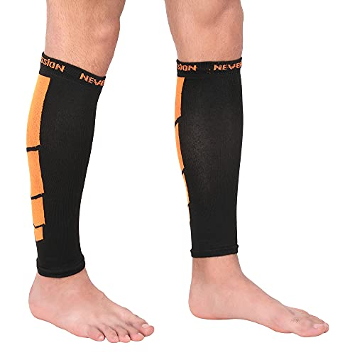 NEVER LOSE Calf Compression Sleeves for Men & Women, Unisex. Shin Splint Leg Sleeves. Graduated Compression for Calf Strains, Shin Splints and Varicose Veins,Recovery & Prevention (Large)