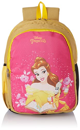 Priority Disney Princess Belle 25 litres Yellow & Pink Polyester School Bag   Casual Bags   for Girls, Kids Backpack (Fairy 007)