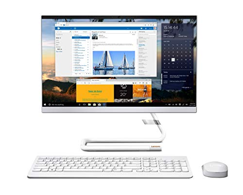 """Lenovo IdeaCentre A340 21.5"""" FHD IPS All-in-One Desktop (10th Gen Intel Core i3/8GB/1TB HDD+256GB SSD/Win 10/Office/with Slim DVD±RW/HD 720p Camera/Wireless Keyboard & Mouse) Foggy White F0EB00QSIN"""