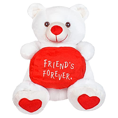Ultra Premium Friends Forever Pouch Holding Teddy Bear Kids Soft Toy, White 38 cm