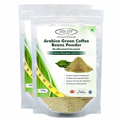 Sinew Nutrition Green Coffee Beans Powder - 500g (Pack 2), Green Coffee Powder for Weight Loss