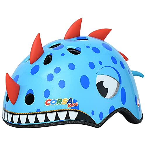 Kids Bike Helmet,Lovely Blue Dinosaur Kids Helmet Have CPSC Certified Ages 2-5 Years Old Boys Girls Sports Helmet for Balance car, trikes, Scooters, Bike and Other Outdoor Sports