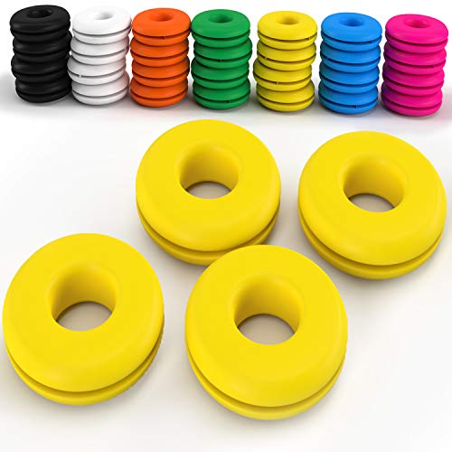 Z Best Tennis Vibration Dampeners - Reduce String Rattle and Elbow Pain - Shock Absorbing Set - Great for Racquetball, Squash, Badminton - 4 Pack (Yellow)