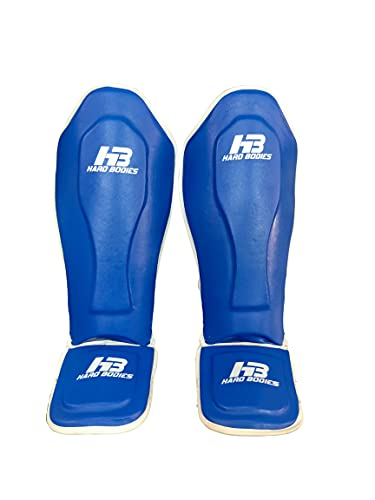 HB Hard Bodies Strike Shin Guards for Muay Thai, Kickboxing, MMA Training and Fighting, Maya Hide Leather Instep Leg Protector Foam Pads for Martial Arts, Sparring, Protective Gear. (Blue, Large)