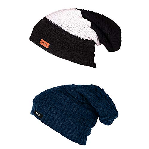 Knotyy Unisex Combo Woollen Caps, Knitted Slouchy, Skull Beanie Cap for Men and Women (Multicolour) Pack of 2